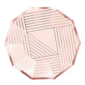 Manhattan - Rose Gold Striped Small Paper Plates