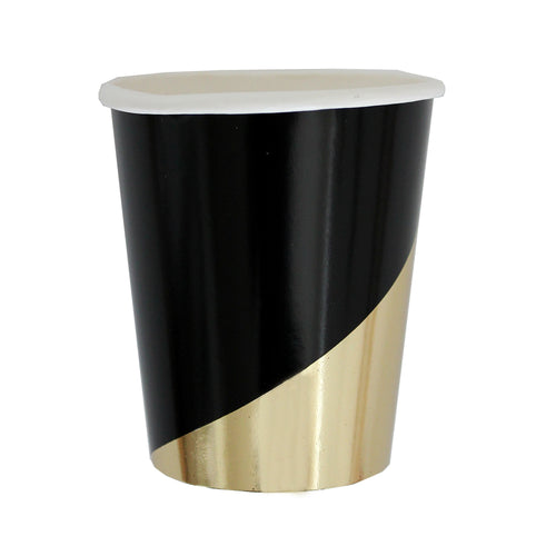 Noir - Black Colorblock Party Cups