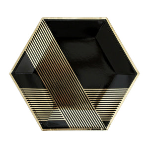 Noir - Black Hexagon Large Party Plates