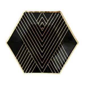 Noir - Black Hexagon Small Party Plates