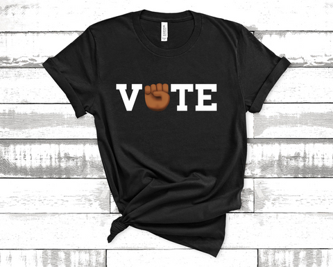 Unisex Short Sleeve Jersey Vote Tee - Black