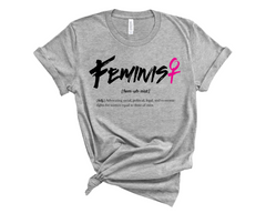 Unisex Short Sleeve Jersey Feminist Tee - Light Grey