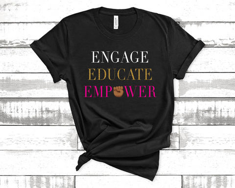Unisex Short Sleeve Jersey Engage, Educate, Empower Tee - Black