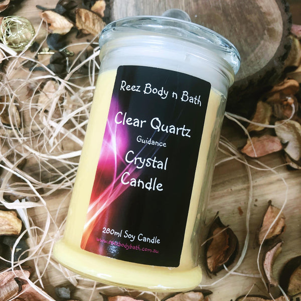 Crystal Candle Clear Quartz Passion fruit n Papaya