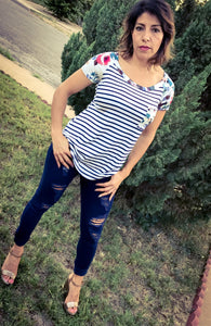 Striped Floral Raglan