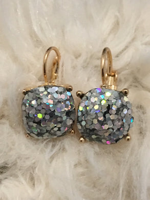 Glitter Square Earrings
