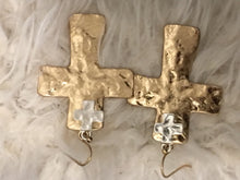 Two Tone Cross Earrings
