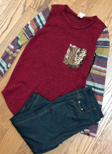 Burgundy Glitter Pocket Long Sleeve