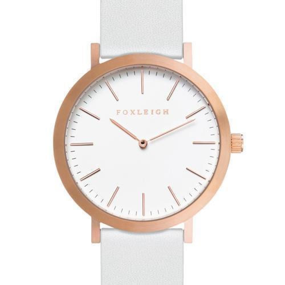 Rose Gold & White Leather Timepiece