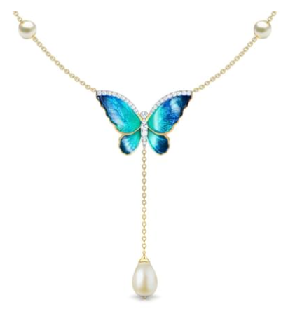Flared Blue Butterfly Necklace