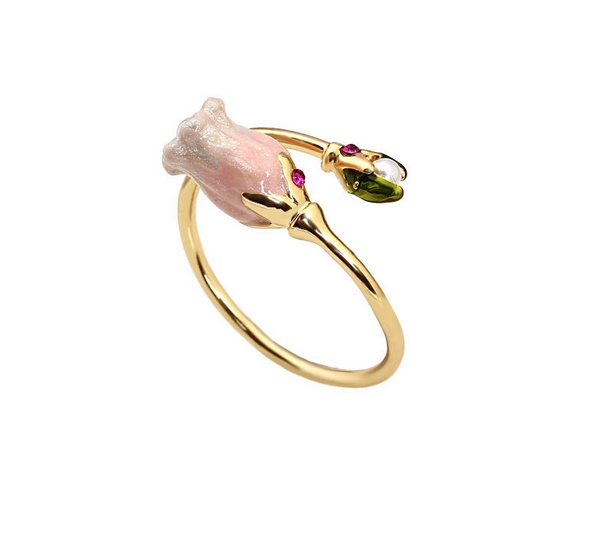 pink bell-orchid inlay pearl ring