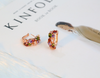 color gemstone hoop earring