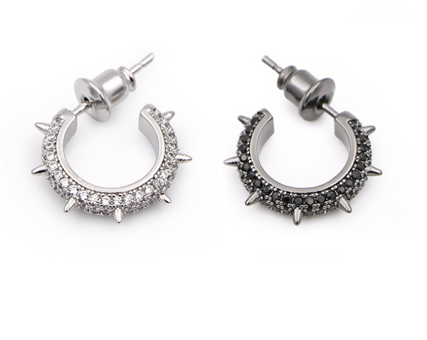 black circle pave hoop earrings