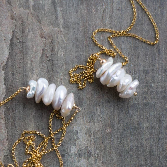 """ Freshwater Pearl Jewelry Gold Necklace"""