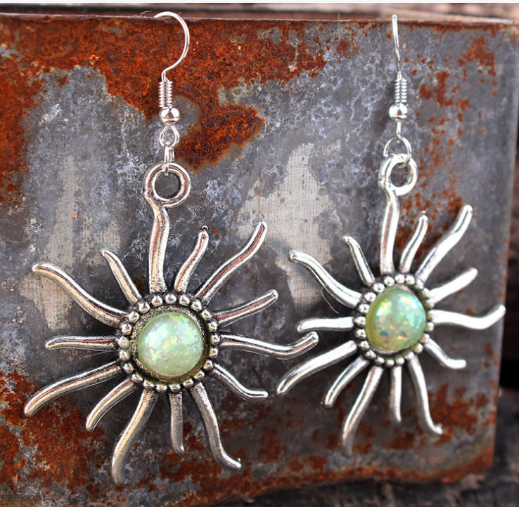 opal sunflower earring