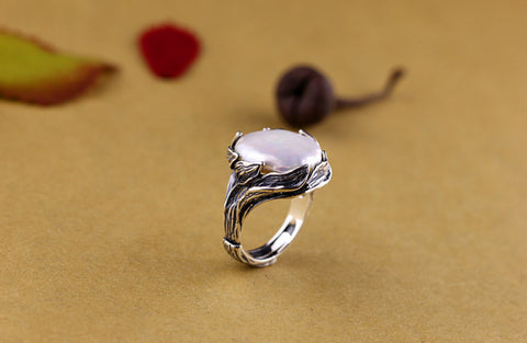 Silver fresh water pearl ring
