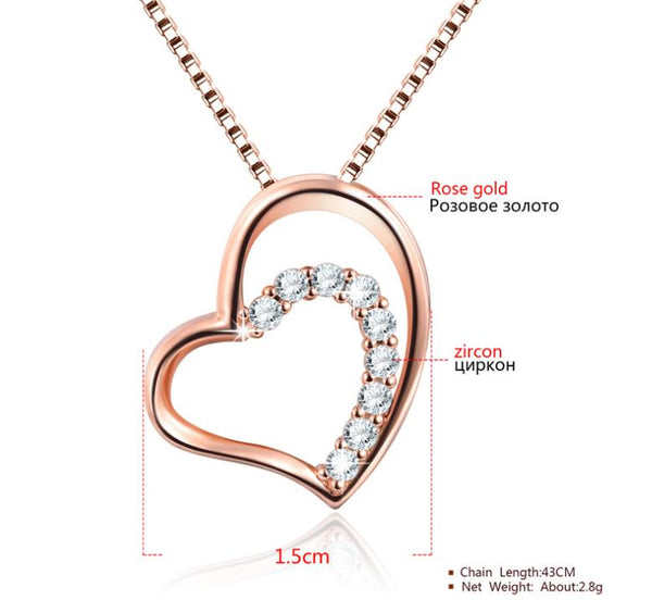 """silver necklace rose gold pendant"""