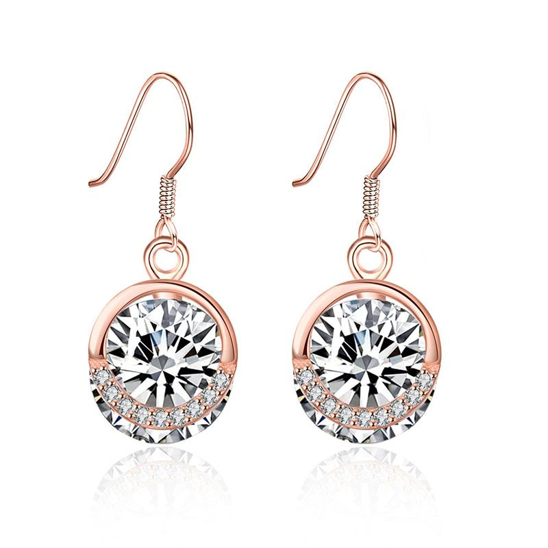 HALO ROUND CUT STONE EARRINGS