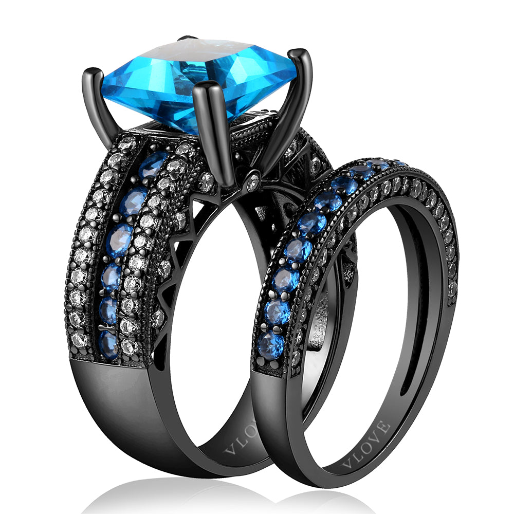 CZ paving two pieces ring sets