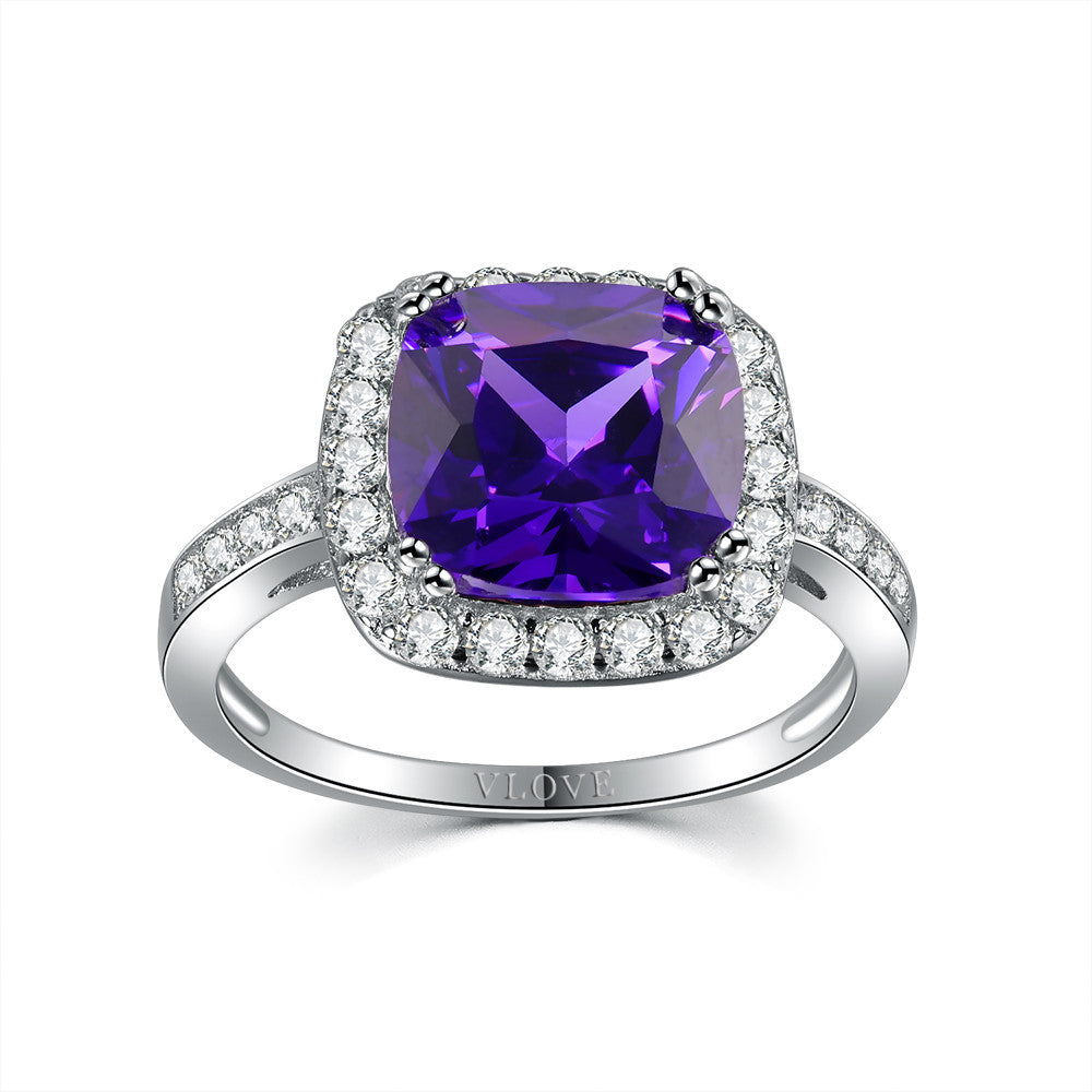 Amethyst pillow shape ring
