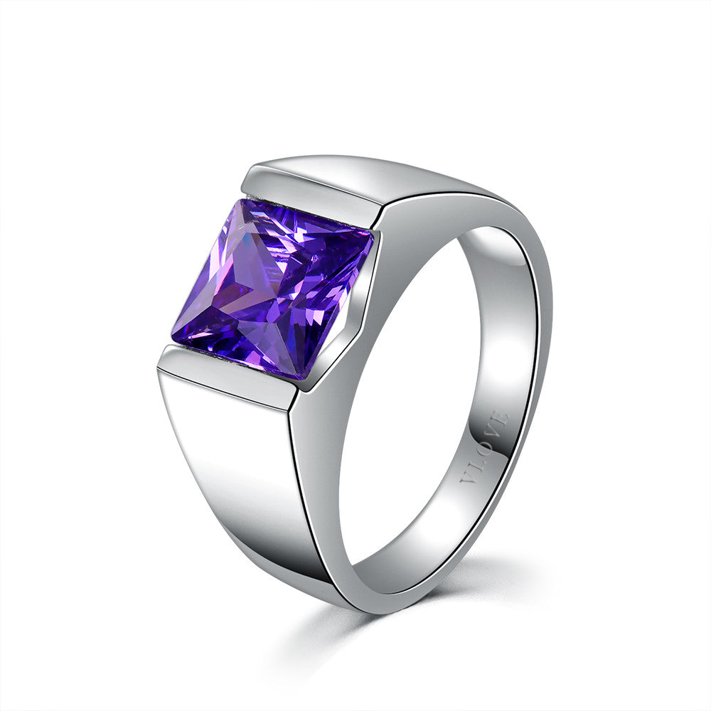 Rectangle stone solitaire ring