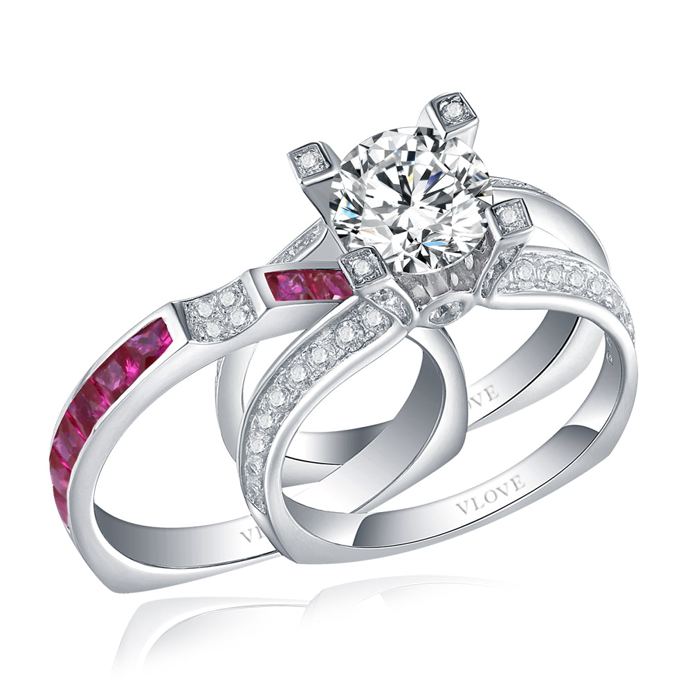 Rose red CZ Paving two pieces ring