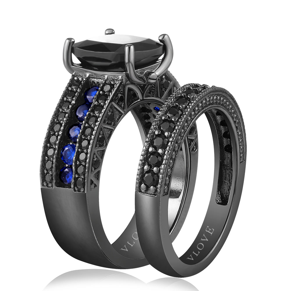 Classic bands black plated set ring