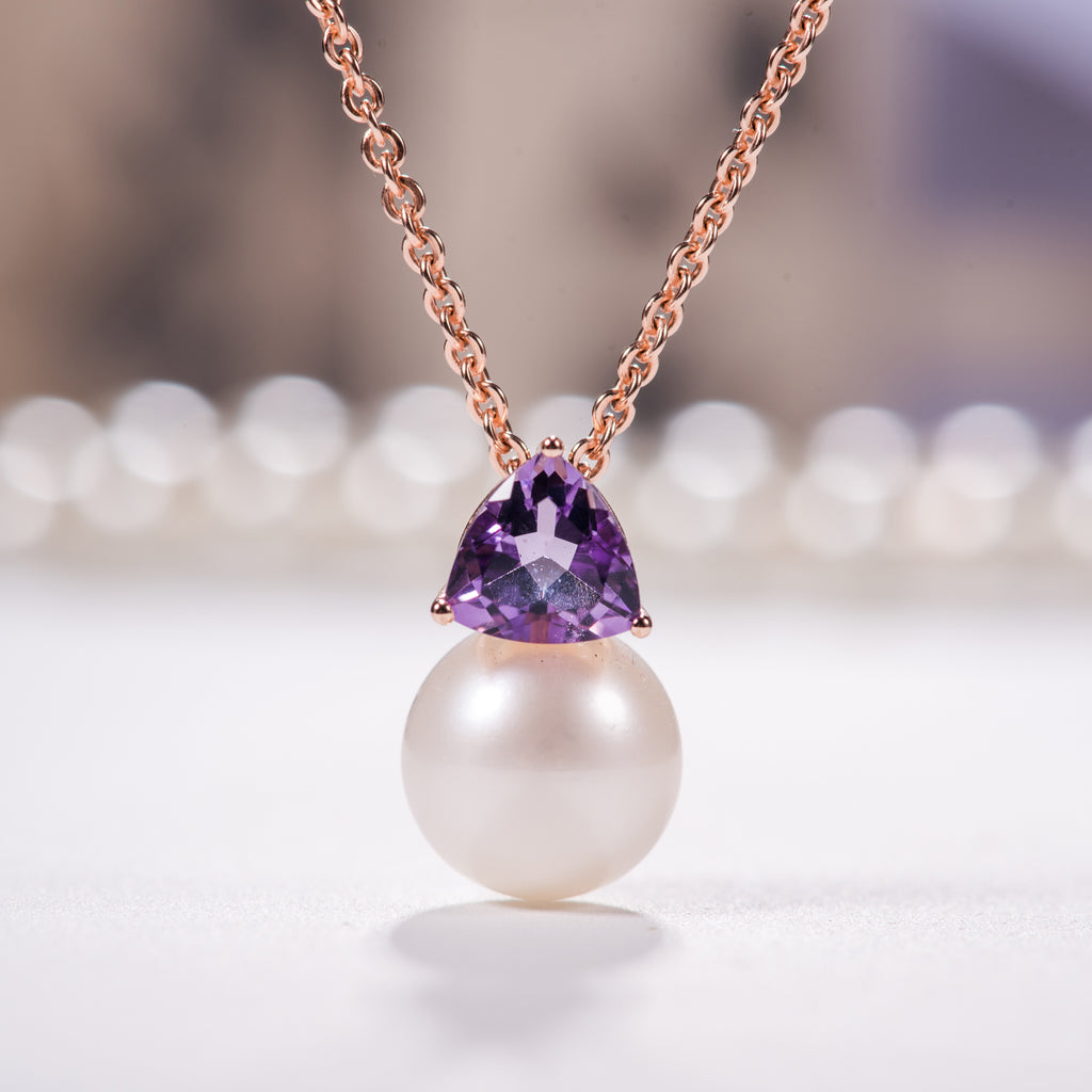 Pearl pendant with amethyst