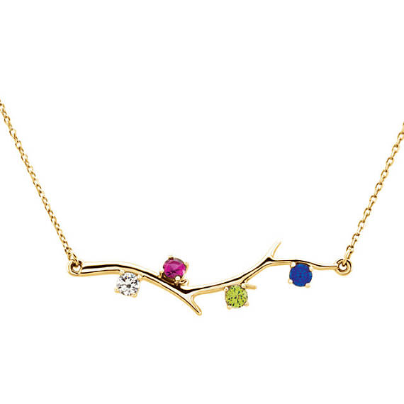 Family Branch Birthstone Gold Necklace