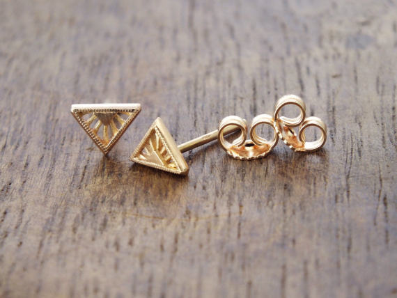 Hollow Triangle Gold Earrings