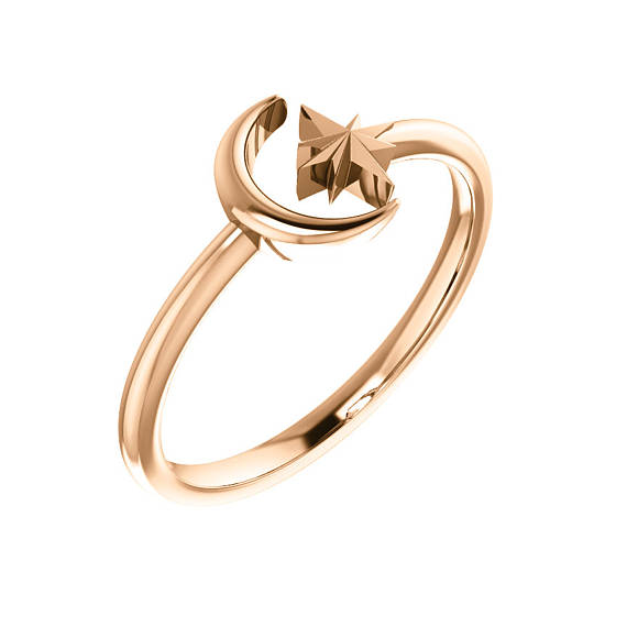 Moon and Star Open Gold Ring