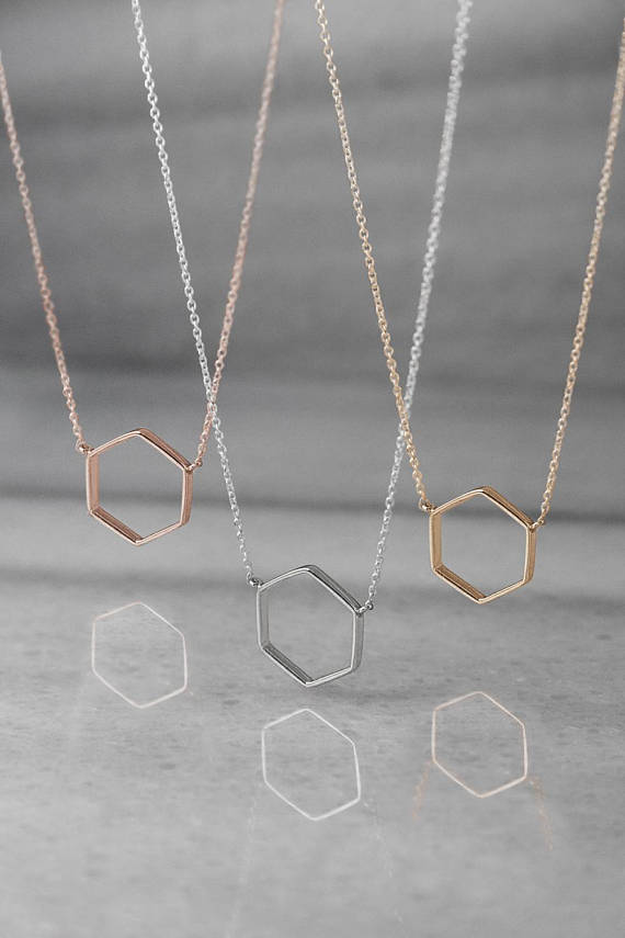 Hexagon Gold Necklace