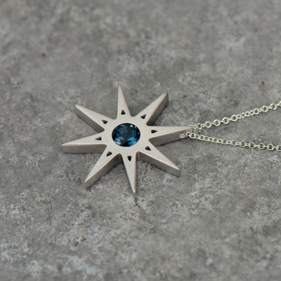 Star of David Sapphire Gold Necklace