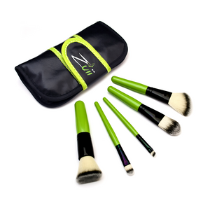 Load image into Gallery viewer, Zuii Organic Vegan, Travel-Size Makeup Brush Set with Kabuki, Concealer, Eyeliner, Foundation and Contour Brush