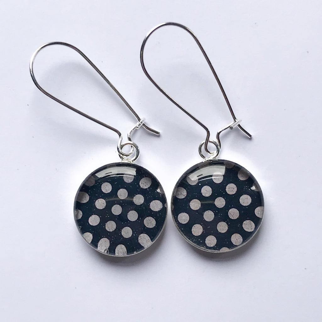 Navy Polka Earrings