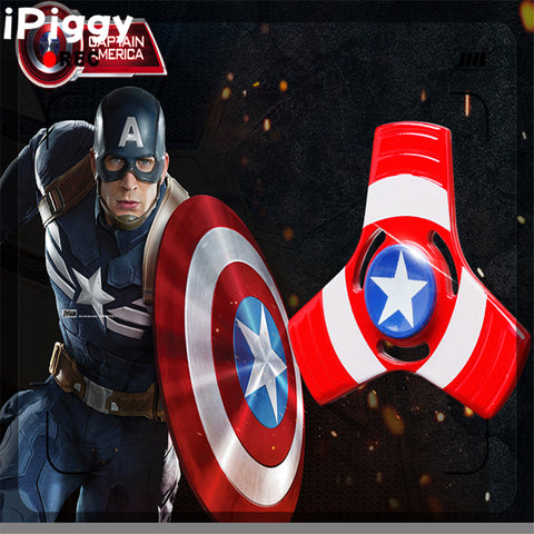 2017 New Alloy Fidget Spiner metal Captain America sheild finger Fidget Spinner For Autism/ADHD Anxiety Stress Relief Wheel Toys