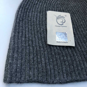 cashmere beanie grey ribbed