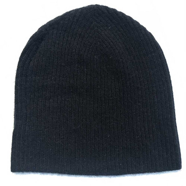 cashmere beanie black ribbed