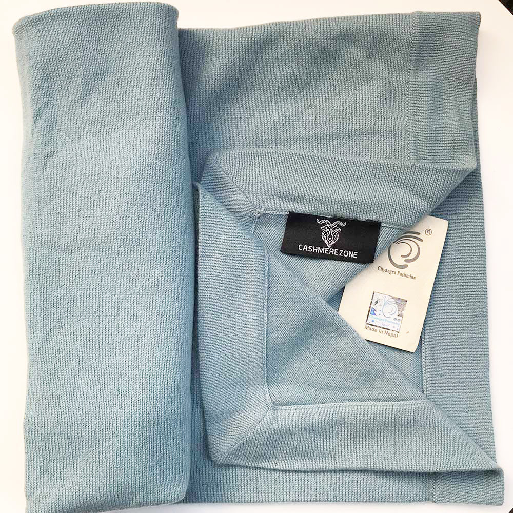 cashmere baby blanket light blue