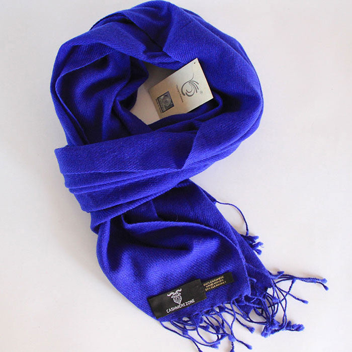 Royal Blue Pure Cashmere Scarf