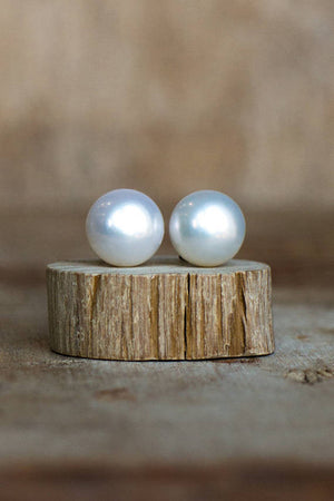 White Pearl Stud Earrings 9mm