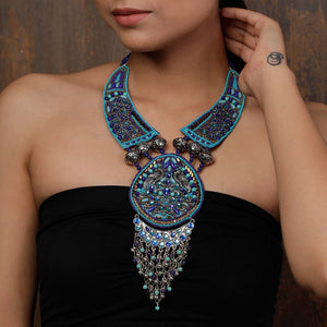 Blue Beads and Rhinestones Neckpiece
