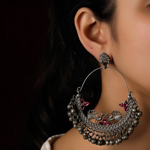 The Trinkly Love Bird Oxidized Earrings