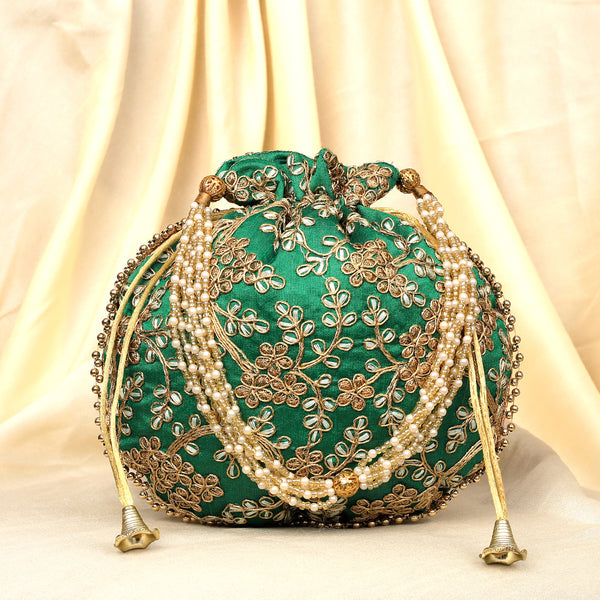 The Golden Amulet Green Potli