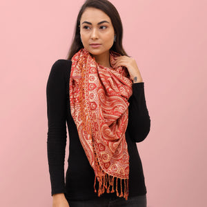 The Sultani Art Reversible Stole in Red