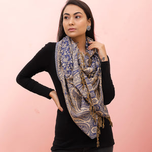 The Sultani Art Reversible Stole in Dark Blue