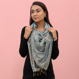 The Sultani Art Reversible Stole in Blue