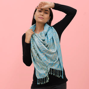 The Sultani Art Reversible Stole in Light Blue