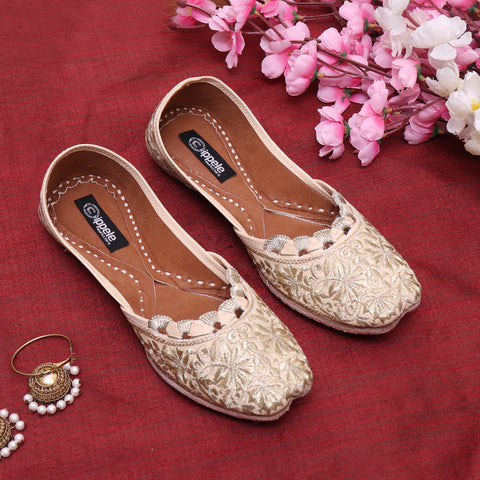 Foot Wear,Fabulous For Feet Classic Jutti in Golden Embroidery - Cippele Multi Store