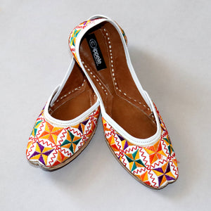 FootWear,Fabulous For Feet with little thread fans in White Base - Cippele Multi Store